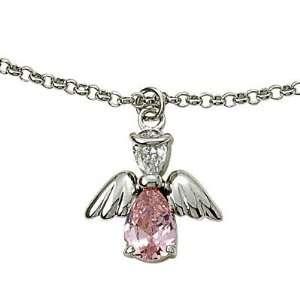 Rose October Birthstone Angel Wing Bracelet on 7 1/2 Chain Jewelry