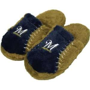 MILWAUKEE BREWERS OFFICIAL LOGO EMBROIDERED SLIPPERS SZ S: