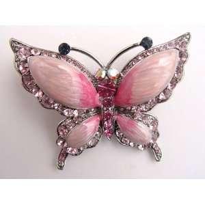 Repro Czech Crystal Rhinestone Rose Pink Butterfly Fashion Pin Brooch