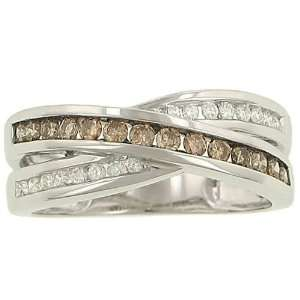 Round Channel Set White & Champagne Diamond Ring .50ct Jewelry