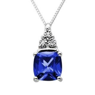Sterling Silver Round Shaped Created Blue Sapphire Pendant