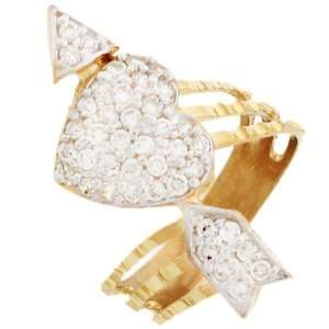 14k Solid Gold Cluster CZ Heart & arrow Diamond Cut Ring Jewelry