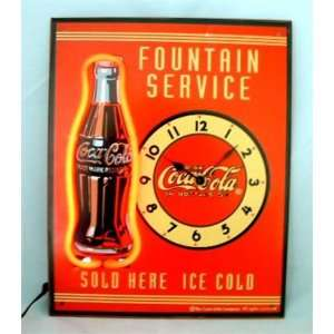 Coca Cola Coke Neon Bottle Wall Clock Metal Sign Home