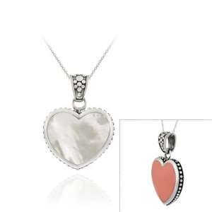Heart PENDANT w/ Pink Coral & Mother of Pearl Jewelry