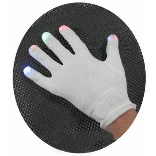 Stretchy White Gloves with Color Changing LED Finger Tips by 88m