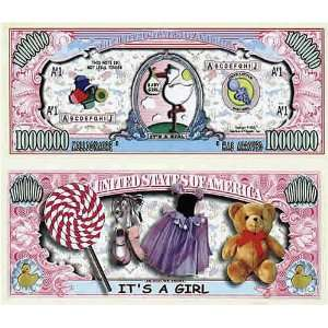 Set of 100 Its a Girl One Million Dollar Bill: Toys & Games