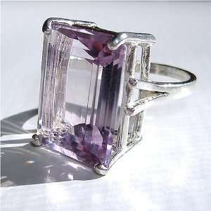 Stunning, Giant Genuine Amethyst Cocktail Ring Emerald Cut Jewelry