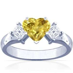 Platinum Heart Cut Yellow Sapphire Three Stone Ring Jewelry