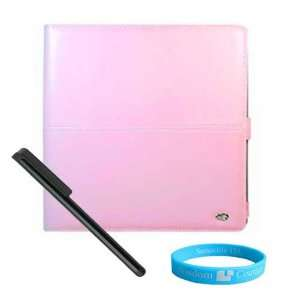 Pink Melrose Leather Case for Apple iPad + Black Stylus