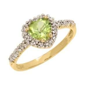 10k Yellow Gold Heart Shaped Peridot and Diamond Ring, Size 5 Jewelry