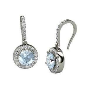 Drop Earrings, Round Aquamarine Platinum Earrings with Diamond