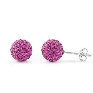 Sterling Silver Pink Sapphire Disco Ball CZ Earrings Jewelry