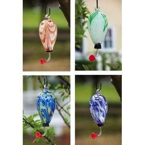 Glass tear drop hummingbird feeder, top feeder, 4 assorted