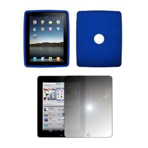 Apple iPad   Premium Electric Blue Soft Silicone Gel Skin Cover