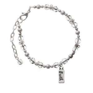Faith Clear Czech Glass Beaded Charm Bracelet [Jewelry] Jewelry