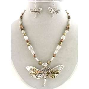 Fashion Jewelry ~ Dragonfly Beaded Necklace and Earrings