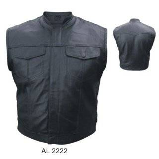 Network Enterprises Choice Leather Biker Vest w/1 Collar: Clothing