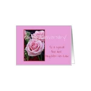 25th Anniversary pink roses for son & daughter in law Card