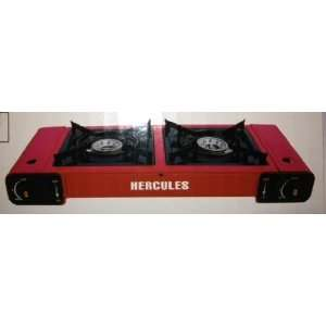 Red Portable Double Burner Gas Stove:  Kitchen & Dining