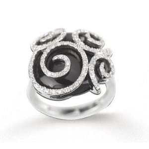 Fabulous 14k White Gold Diamond and Black Onyx Ring Jewelry