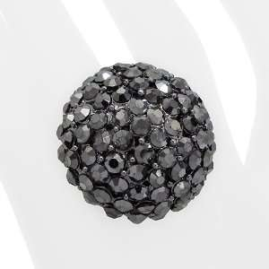 Crystal Pave Dome Round Stretch Ring Hematite Black Jewelry