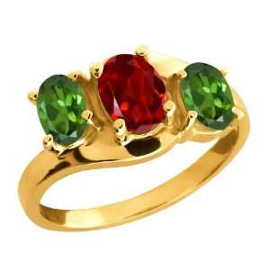 1.70 Ct Oval Red Garnet and Green Tourmaline 10k Yellow