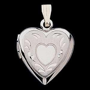 14k White Gold Heart Shaped Locket Jewelry