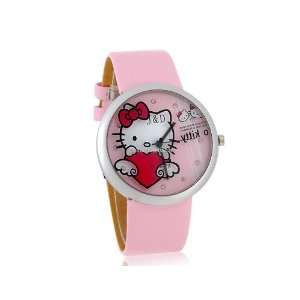 Hello Kitty Pattern Watch with PU Leather Strap Pink