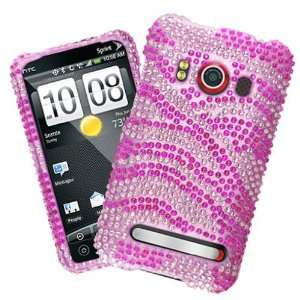 HTC Evo 4G Pink Zebra Full Diamond Bling Hard Case Cover