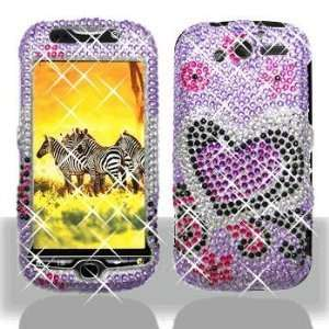 HTC myTouch 4G Purple Love Full Diamond Bling Hard Case Cover
