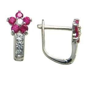 Red   Flowering CZ Star 14k White Gold Huggie Earrings Jewelry