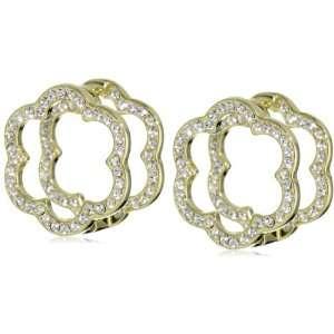 Freede Jewelry 14k Gold Plated Large Flower Huggie Earrings Jewelry