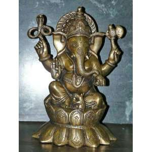 Statue Brass Meditation India God Ganesh Sculpture 10 Home & Kitchen