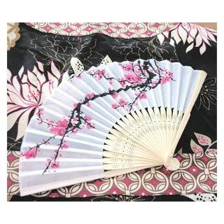 Cherry Blossom Silk Fans   Baby Shower Gifts & Wedding Favors (Set of