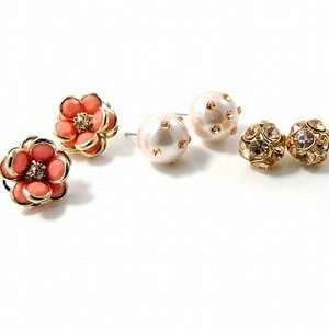 Topaz Crystal and Flower Stud Earrings Fashion Jewelry Set Jewelry