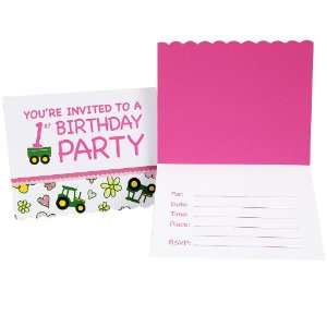 John Deere Pink 1st Birthday Invitations   8 Count Toys