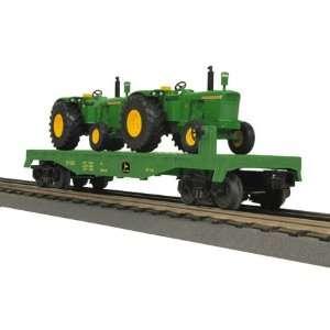 O 27 Flat w/2 5010 Tractors, John Deere Toys & Games
