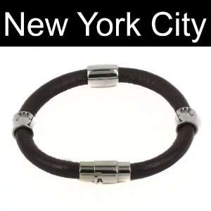 Leather Bracelet Wristband Cuff Stainless Steel Magnetic Lock B0068BRN