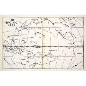 1944 Print Map World Pacific Area United States South