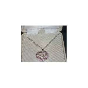 Silver Pink Crystal Mickey Mouse Heart Necklace NIB