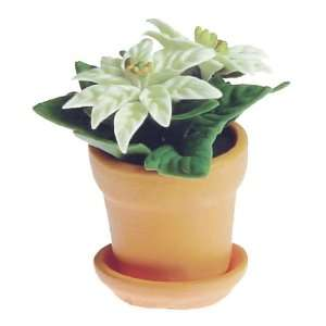 Dollhouse Miniature White Poinsettia Home & Kitchen