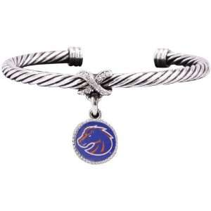 NCAA Boise State Broncos Ladies Antiqued Silver Twisted