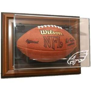 Football Display Case with Wood Frame and Engraved NFL Team Logo