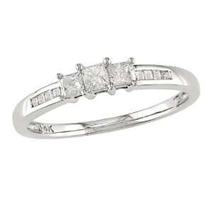 14KW 1/4ctw princess cut diamond ring, I1 I2 Jewelry