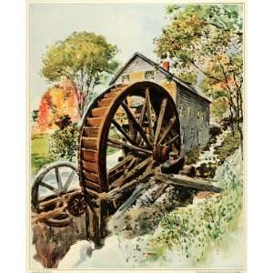 1923 Print Historic Old Mill Water Wheel Architecture