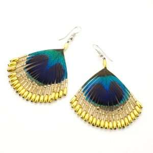 Black gold silver women peacock feather beads earrings by