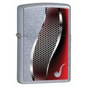 Zippo Pocket Lighter Street Chrome Pipe Lighter Red (Silver, 3 1/2