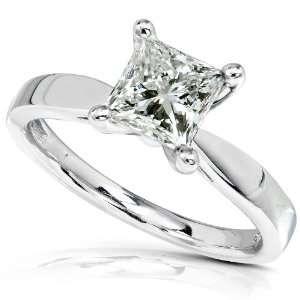 Princess Cut Diamond Solitaire Ring in 14k White Gold Diamond Me