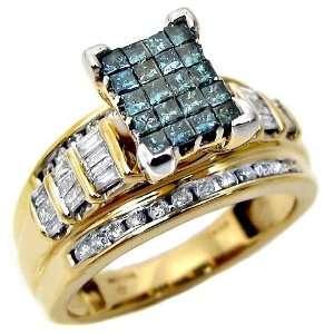 1.30ct Blue Princess Cut Diamond Engagement Ring 14k