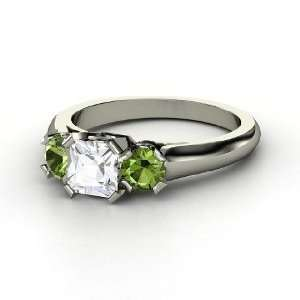 Mirabella Ring, Princess White Sapphire 14K White Gold Ring with Green